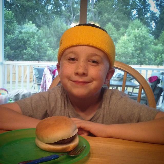Ted, with hamburger
